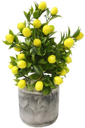 Yapay Çiçek Deposu - Handmade Beton Saksıda Yapay Limon Ağacı Tombul Model 40cm
