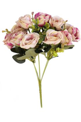 Yapay Çiçek Deposu - Hawai Gül Demeti Krem-Mor