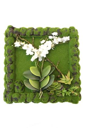 Yapay Çiçek Deposu - Yapay Orkide-Succulent 5D Tablo 52x52cm