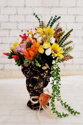 Yapay Çiçek Deposu - Helen Heykel Büst Saksı Büyük Boy Siyah Tanzim