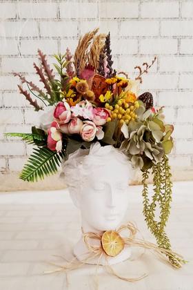 Yapay Çiçek Deposu - Helen Heykel Büst Saksı Büyük Boy Beyaz Tanzim