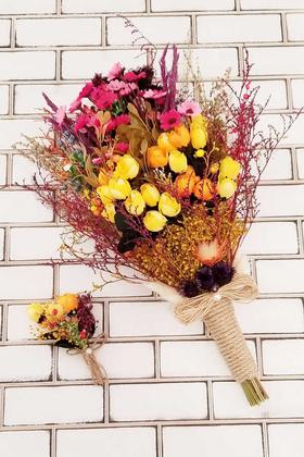 Yapay Çiçek Deposu - Helenka Büyük Kuru Çiçek Gelin Buketi 2li Set