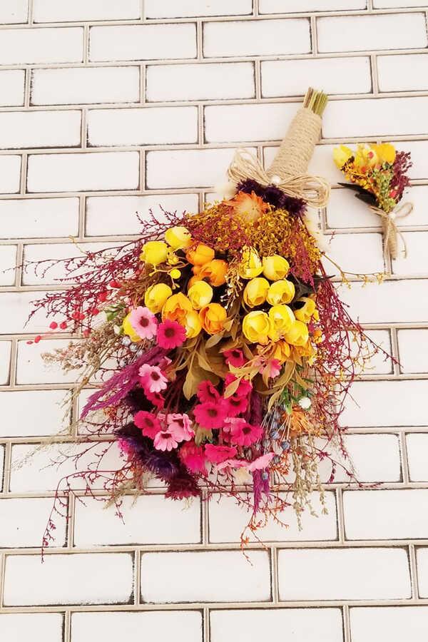 Helenka Büyük Kuru Çiçek Gelin Buketi 2li Set