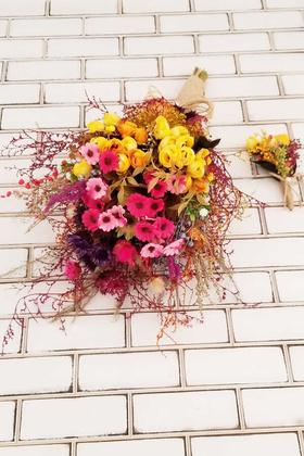 Helenka Büyük Kuru Çiçek Gelin Buketi 2li Set - Thumbnail