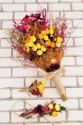 Yapay Çiçek Deposu - Helenka Büyük Kuru Çiçek Gelin Buketi 3lü Set