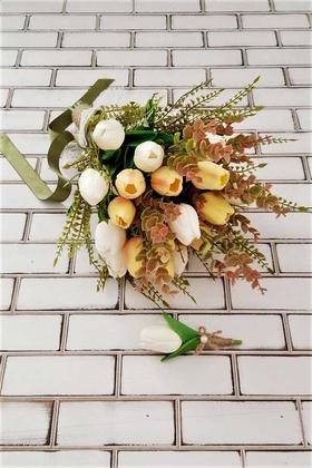 Yapay Çiçek Deposu - Hiero Islak Lale Gelin Çiçeği 2li Set Somon-Beyaz