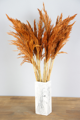 Yapay Çiçek Deposu - İnce Vazoda Kuru Pampas Demeti 50 cm Turuncu