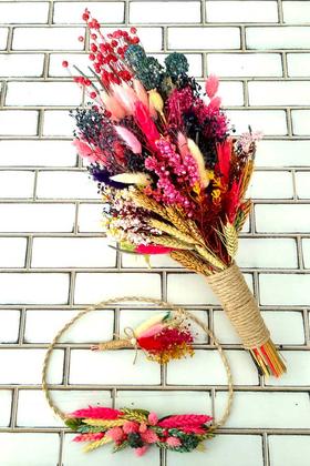 Yapay Çiçek Deposu - İnova Kuru Çiçek Gelin Buketi 3lü Set