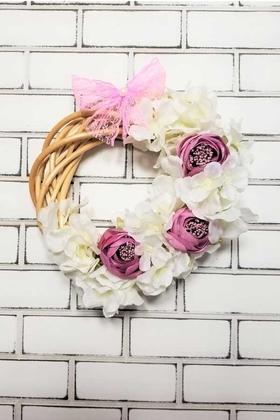 Yapay Çiçek Deposu - İpek Güller ve Ortanca Ahşap Kapı Süsü Beyaz Gül Kurusu
