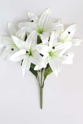 Yapay Çiçek Deposu - Yapay Delüx Islak 3D Lilyum Demeti Beyaz