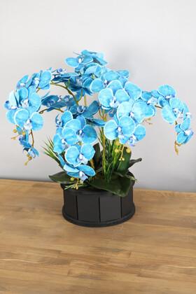 Yapay Çiçek Deposu - Dekoratif Ahşap Saksıda 7 Dal Orkide Tanzimi Mavi