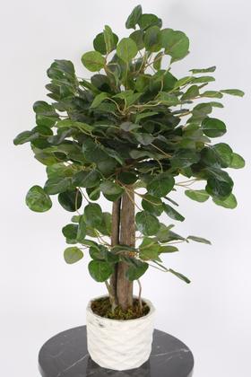 Yapay Çiçek Deposu - Islak Dokulu Yapay Para Ağacı 75 cm Yeşil-Gri