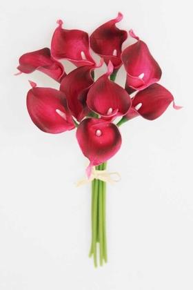Yapay Çiçek Deposu - Yapay Çiçek Islak Gerçek Gala Çiçeği 9 Dal Koyu Fuşya