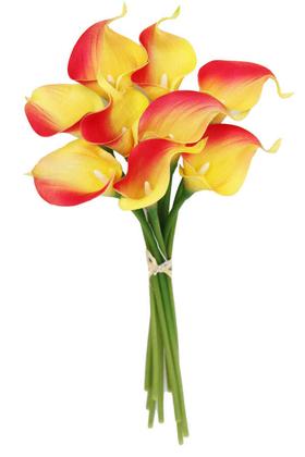 Yapay Çiçek Deposu - Yapay Çiçek Islak Gerçek Gala Çiçeği 9 Dal Sarı-Kırmızı