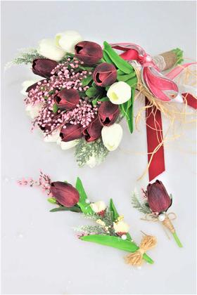 Yapay Çiçek Deposu - Islak Lale Gelin Çiçeği 3lü Set Beyaz-Mürdüm