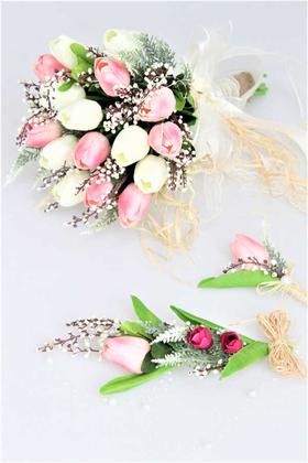 Yapay Çiçek Deposu - Islak Lale Gelin Çiçeği 3lü Set Beyaz- Pembe