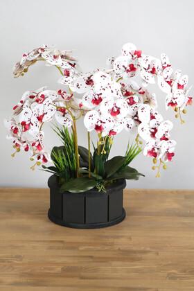 Yapay Çiçek Deposu - Dekoratif Ahşap Saksıda 7 Dal Orkide Tanzimi Bordo Benekli