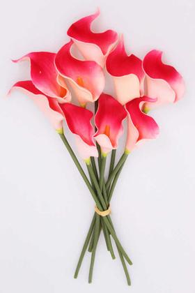 Yapay Çiçek Deposu - Yapay Çiçek Islak Gerçek Gala Çiçeği 9 Dal Koyu Pembe