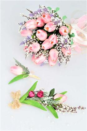 Yapay Çiçek Deposu - Islak Lale Gelin Buketi 3lü Set Pembe