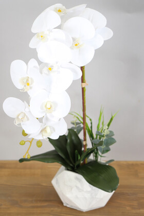 Yapay Çiçek Deposu - Beton Saksıda Yapay Baskılı Islak Orkide 55 cm Beyaz Sarı