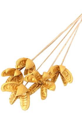 Yapay Çiçek Deposu - Tropic Bullet Flower Kuru Çiçek 5li Gold-Altın Renk