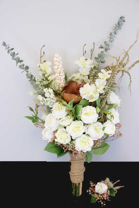 Yapay Çiçek Deposu - Gelin Buketi Lüx Serisi Beyaz Tonlar 2li Set