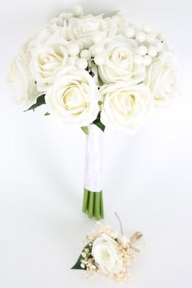 Yapay Çiçek Deposu - Beyaz Kokina Gelin Buketi 2li Set
