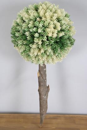 Yapay Çiçek Deposu - Ağaç Sap Takılı Dekoratif Lüx Şimşir Top Yeşil-Krem
