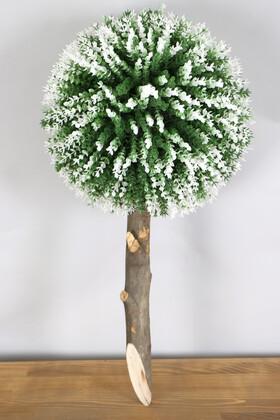 Yapay Çiçek Deposu - Ağaç Sap Takılı Dekoratif Lüx Şimşir Top Yeşil-Beyaz