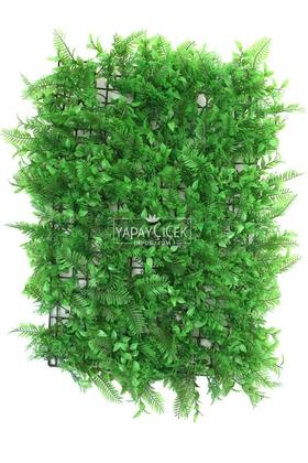 Yapay Çiçek Deposu - Yapay Bitki Fujer Model Duvar Kaplaması 40x60 cm Yeşil