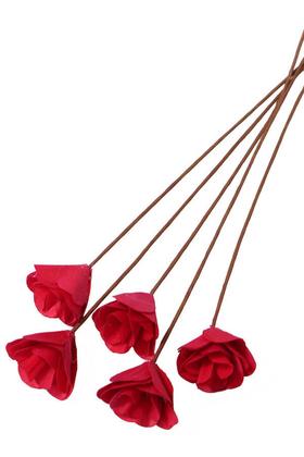 Yapay Çiçek Deposu - 5Li El Yapımı Ağaç Kabuğundan Dekoratif Gül Sivri Model Kırmızı