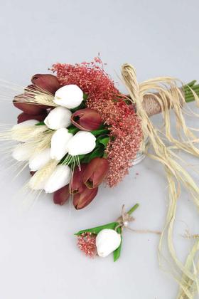 Yapay Çiçek Deposu - Gonca Islak Lale Gelin Çiçeği 2li Set Kahve-Beyaz