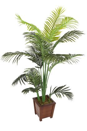 Yapay Çiçek Deposu - Yapay Ağaç Areka Palmiyesi Ahşap Saksıda 160cm