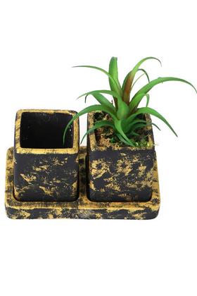 Yapay Çiçek Deposu - Kaktüslü Eskitme Beton Saksı Kalemlik Gold (Yapay Bitki Dahil)
