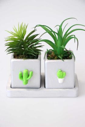 Yapay Çiçek Deposu - İki Saksılı Tablalı Kaktüs Seti(Bitkiler Dahil)