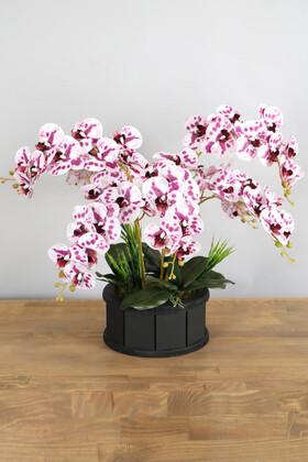 Yapay Çiçek Deposu - Dekoratif Ahşap Saksıda 7 Dal Orkide Tanzimi Mor Benekli