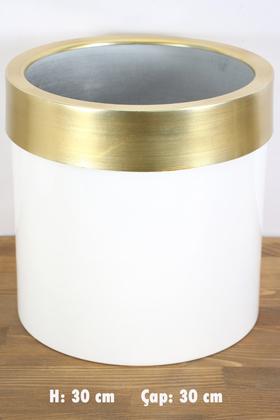 Yapay Çiçek Deposu - Dekoratif Metal Saksı Beyaz Altın 30 cm
