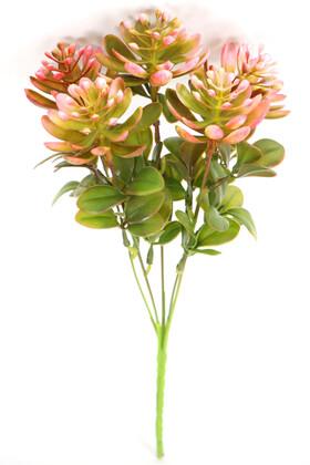 Yapay Çiçek Deposu - Yapay Sukulentli Yeşillik Demeti 30 cm Pembe