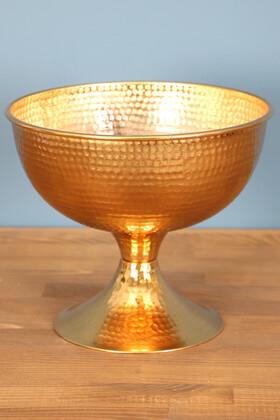 Yapay Çiçek Deposu - Metal Kabartmalı Dövme Vazo Gold