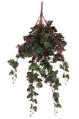 Yapay Çiçek Deposu - Gerçek Dokulu Islak Devetabanı Sarmaşık 85 cm Yeşil Kızıl