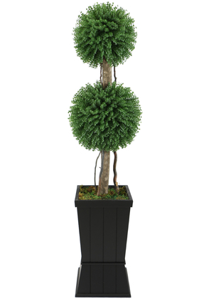Yapay Çiçek Deposu - Yapay 2li Okaliptus Şimşir Top 140cm Yeşil (Dekoratif Ahşap Saksılı)