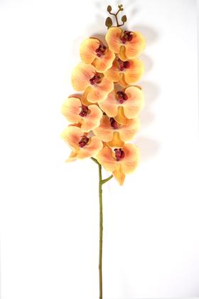 Yapay Çiçek Deposu - Yapay Islak Dokulu Premium Orkide Çiçeği 97 cm Kavuniçi