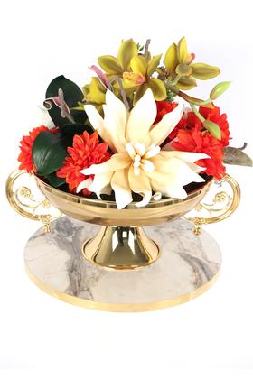 Yapay Çiçek Deposu - Lateks Çiçekli Metal Vazoda Lüx Seri Singapore Orchid Aranjmanı
