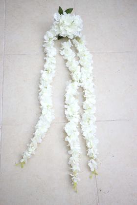 Yapay Çiçek Deposu - Yapay Çiçek Sarkan Beyaz Begonvil 110 cm