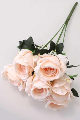 Yapay Çiçek Deposu - Yapay Çiçek 7 Dal Kaliteli İri Gül Demeti 42 cm Pudra
