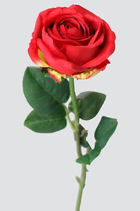 Yapay Çiçek Deposu - Yapay Orjinal Açmış Gül Dalı 62 cm Kırmızı
