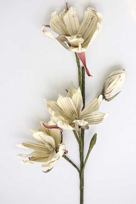 Yapay Çiçek Deposu - Exclusive Tropikal İri Çiçekli Gonca Güllü Uzun Dal 80 cm Bej