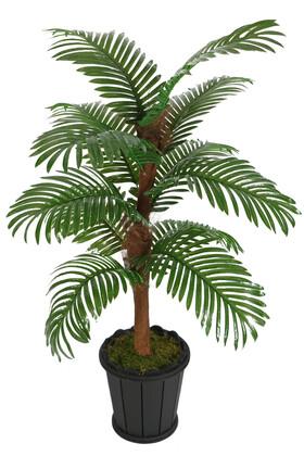 Yapay Çiçek Deposu - Kokos Gövdeli Yapay Areka Palmiyesi 12 Yapraklı 130 cm
