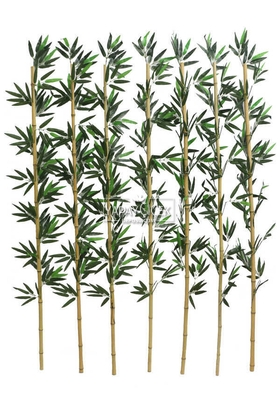 Yapay Çiçek Deposu - Kumaş Yapraklı Doğal Bambu 160-175 cm (7 Adet)