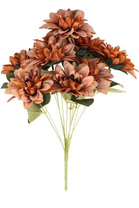 Yapay Çiçek Deposu - Gerçeğe Yakın Dahlia Yıldız Çiçeği 40 cm Bakır